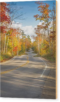 Wood Print featuring the photograph Autumn Afternoon On The Winding Road by Mark David Zahn