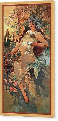Autumn Wood Print by Alphonse Maria Mucha