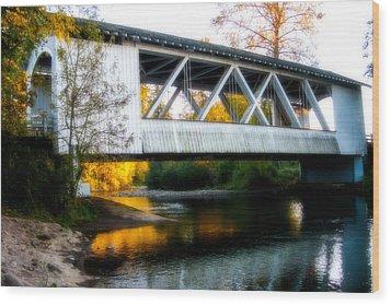 Autumn And The Larwood Bridge Wood Print