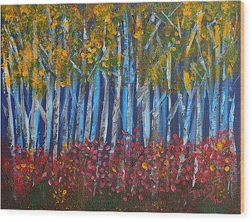 Autumn Aspens Wood Print by Donna Blackhall