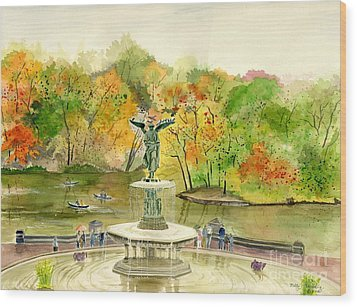 Autumn At Central Park Ny Wood Print
