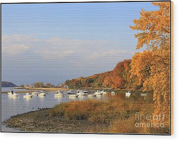 Autumn At Cold Spring Harbor Wood Print by Dora Sofia Caputo Photographic Art and Design