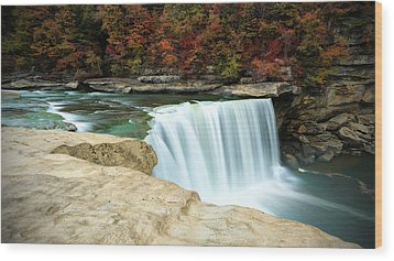 Autumn At Cumberland Falls Wood Print by Jaki Miller