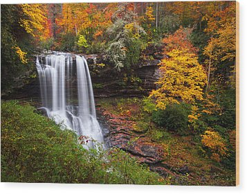 Autumn At Dry Falls - Highlands Nc Waterfalls Wood Print