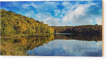 Autumn At Sailboat Cove Wood Print by Andee Design