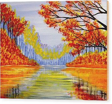 Wood Print featuring the painting Autumn At The Lake by Darren Robinson