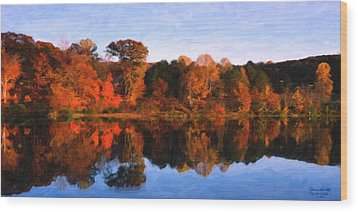 Autumn At The Lake Wood Print