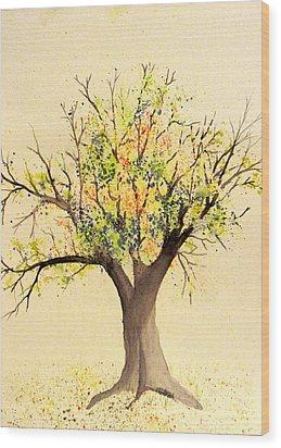 Autumn Backyard Tree Wood Print