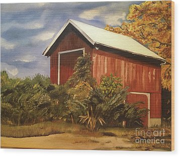 Wood Print featuring the painting Autumn - Barn - Ohio by Jan Dappen