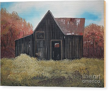 Wood Print featuring the painting Autumn - Barn -orange by Jan Dappen