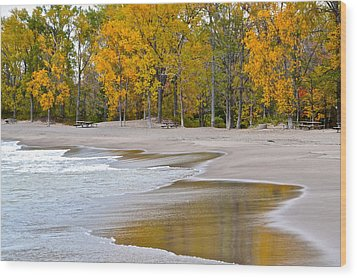 Autumn Beach Wood Print by Frozen in Time Fine Art Photography