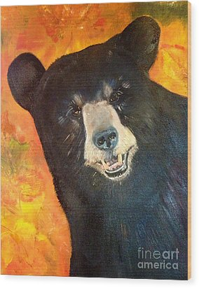 Wood Print featuring the painting Autumn Bear by Jan Dappen