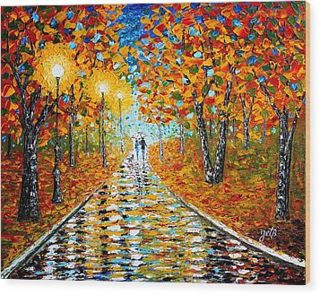 Wood Print featuring the painting Autumn Beauty Original Palette Knife Painting by Georgeta  Blanaru