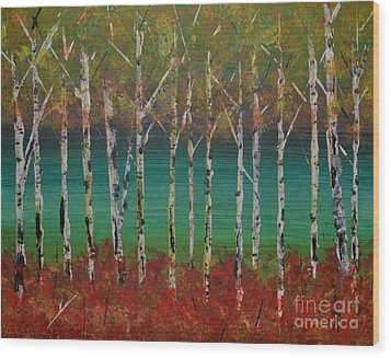 Wood Print featuring the painting Autumn Birches by Denise Tomasura