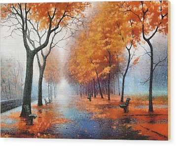 Autumn Boulevard Wood Print