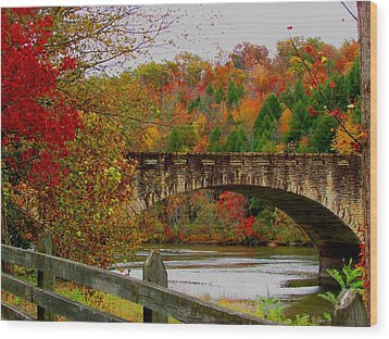 Autumn Bridge 1 Wood Print