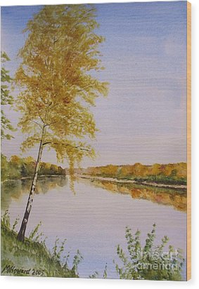 Wood Print featuring the painting Autumn By The River by Martin Howard