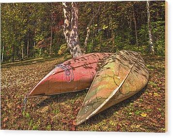 Autumn Canoes Wood Print by Debra and Dave Vanderlaan