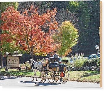 Autumn Carriage Ride Wood Print by Barbara McDevitt