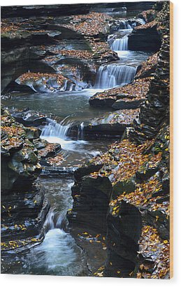 Autumn Cascade Wood Print by Frozen in Time Fine Art Photography