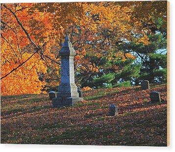 Autumn Cemetery Visit Wood Print