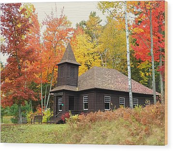 Autumn Chapel Wood Print by Elaine Franklin