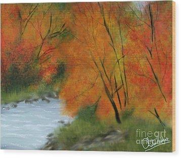 Autumn Wood Print by Chitra Helkar