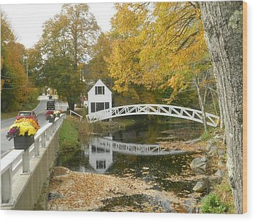 Autumn Colors At Somesville Bridge Mount Desert Island Maine Wood Print by Lena Hatch
