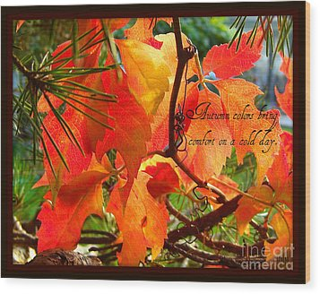 Wood Print featuring the photograph Autumn Colors by Heidi Manly
