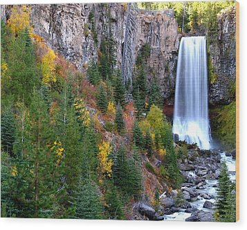Wood Print featuring the photograph Autumn Colors Surround Tumalo Falls by Kevin Desrosiers