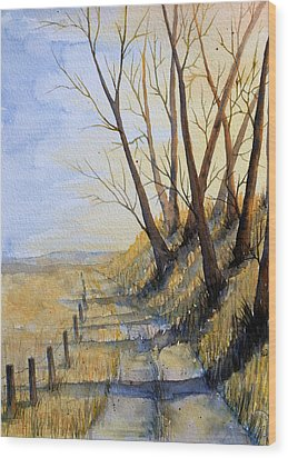 Wood Print featuring the painting Autumn Country Road by Rebecca Davis