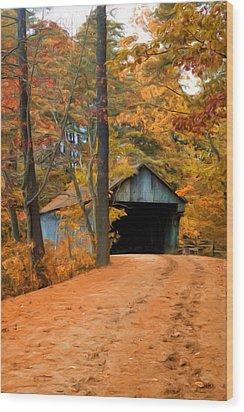 Autumn Covered Bridge Wood Print by Joann Vitali