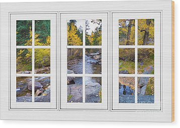 Autumn Creek White Picture Window Frame View Wood Print by James BO  Insogna