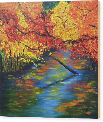 Autumn Crossing The River Wood Print