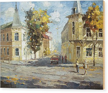 Wood Print featuring the painting Autumn Day by Dmitry Spiros