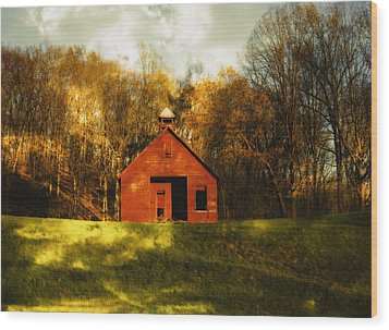 Autumn Day On School House Hill Wood Print by Denise Beverly