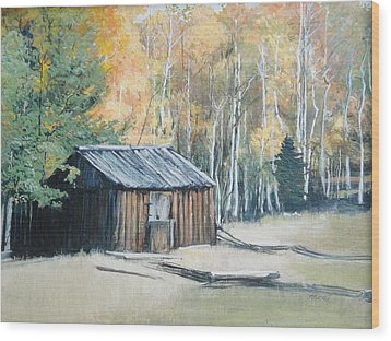 Autumn Descends On The Old Logger's Cabin Wood Print by Terri Ana Stokes