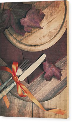 Autumn Dining Wood Print by Amanda Elwell