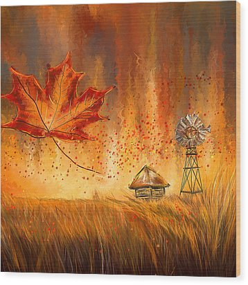 Autumn Dreams- Autumn Impressionism Paintings Wood Print by Lourry Legarde