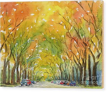 Autumn Elms Wood Print