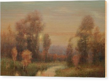 Autumn Evening Glow Wood Print