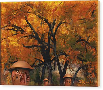 Autumn Fairies Resort Wood Print