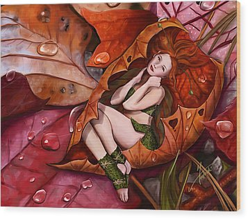 Autumn Fairy Wood Print by Maggie Terlecki