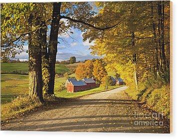 Autumn Farm In Vermont Wood Print by Brian Jannsen
