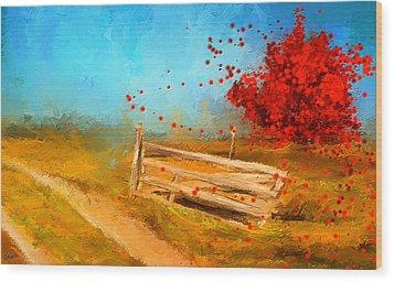 Autumn Farm- Autumn Impressionism Oil Palette Knife Painting Wood Print by Lourry Legarde