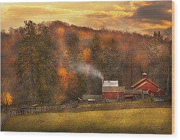 Autumn - Farm - Morristown Nj - Charming Farming Wood Print by Mike Savad