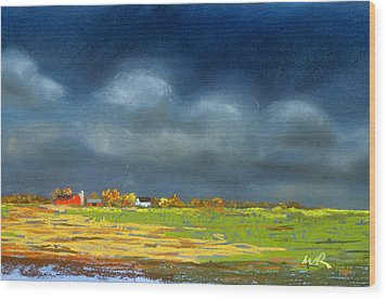 Wood Print featuring the painting Autumn Farm by William Renzulli