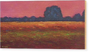 Autumn Field Dusk Wood Print