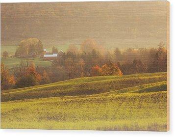 Autumn Fields Wood Print