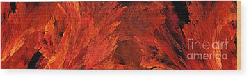 Autumn Fire Abstract Pano 2 Wood Print by Andee Design